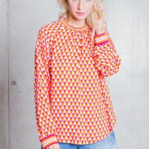 Bluse Retro orange-pink