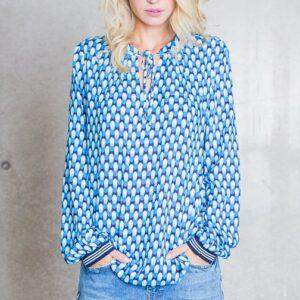 Bluse Retro azur-turquoise