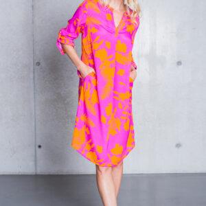 Kleid midi Flowers orange-pink