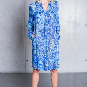 Kleid midi Paisley azur-turquoise